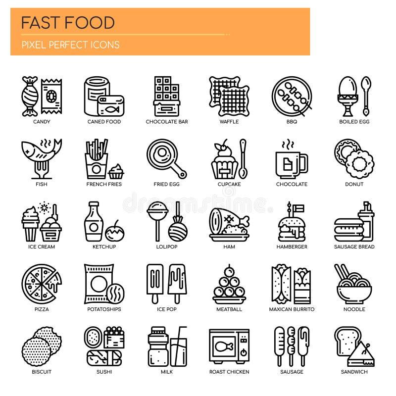 Éléments d'aliments de préparation rapide, icônes parfaites de pixel illustration libre de droits