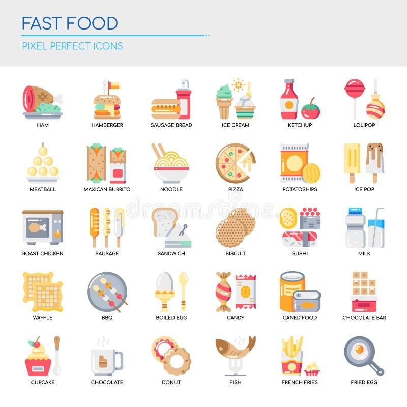Éléments d'aliments de préparation rapide, icônes parfaites de pixel illustration stock
