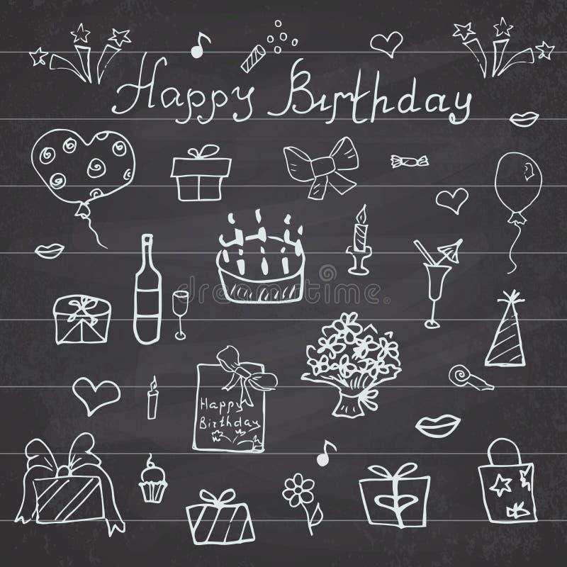 Éléments d'anniversaire Ensemble tiré par la main avec le gâteau d'anniversaire, les ballons, le cadeau et les attributs de fête  illustration stock