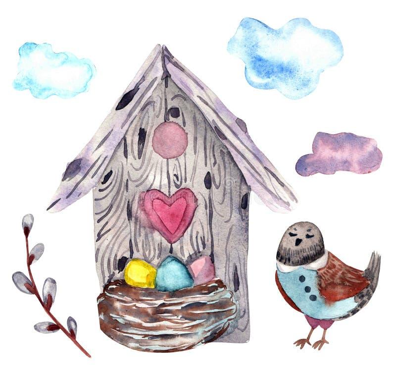 Éléments d'aquarelle pour Joyeuses Pâques illustration libre de droits