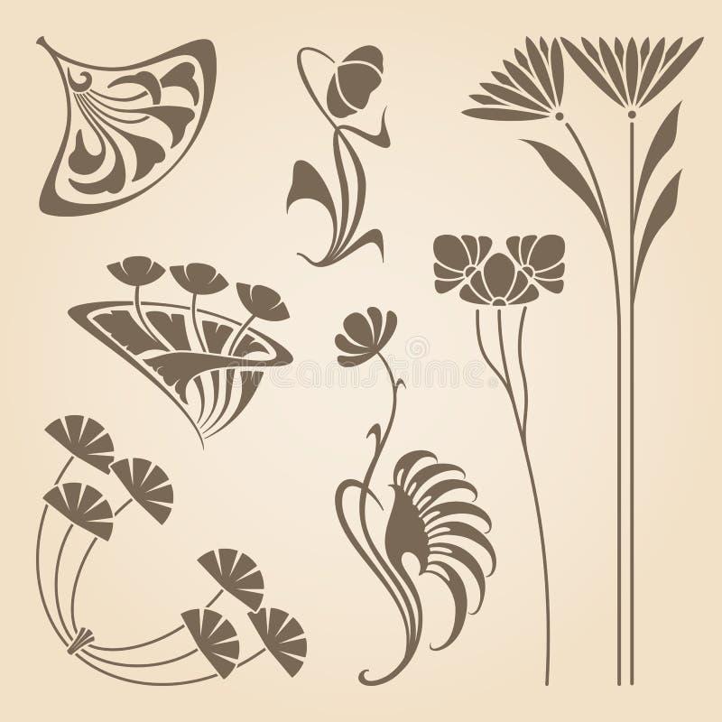 Éléments d'Art nouveau de vecteur illustration de vecteur