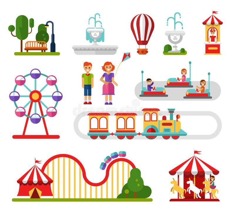 Éléments d'attractions illustration de vecteur