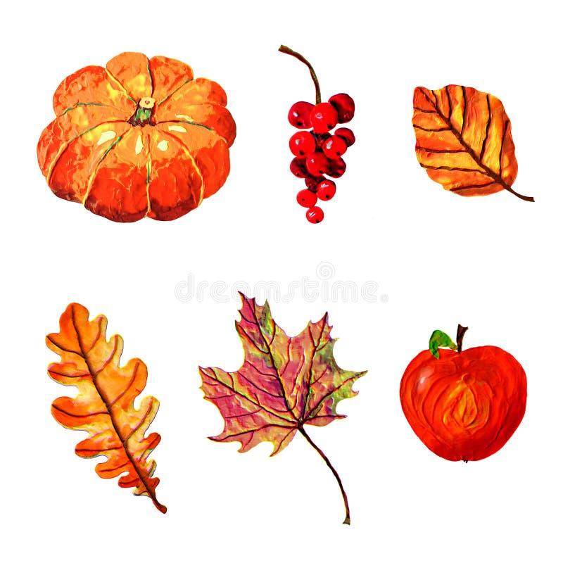 Éléments d'automne - ensemble peint à la main gentil, images d'isolement sur le fond blanc illustration stock