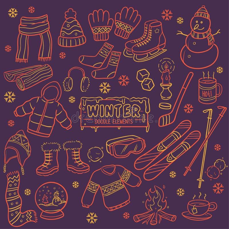 Éléments d'hiver dans le style chaud de coloration illustration de vecteur