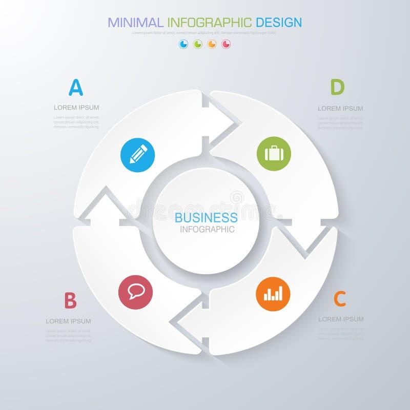 Éléments d'Infographic avec l'icône d'affaires sur le processus en arrière plan ou les étapes et les diagrammes polychromes de dé illustration stock
