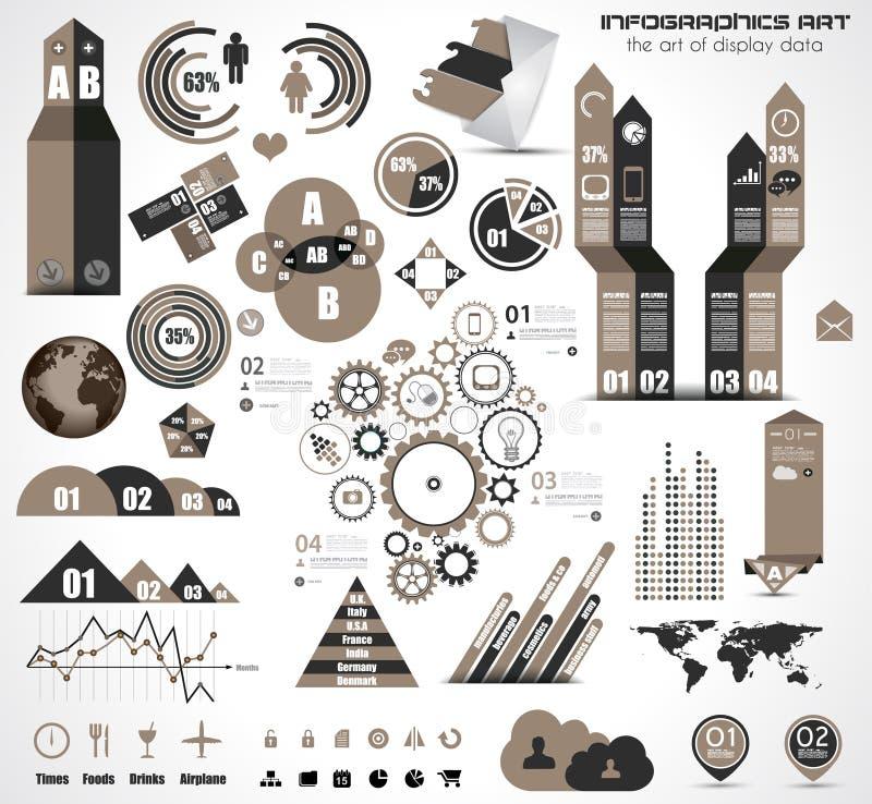 Éléments d'Infographic - ensemble d'étiquettes de papier, icônes… illustration stock