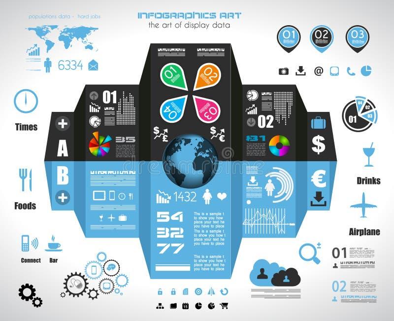 Éléments d'Infographic - ensemble d'étiquettes de papier, icônes de technologie,… illustration stock