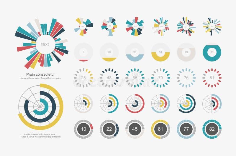 Éléments d'Infographic Icône réglée de graphique circulaire illustration libre de droits