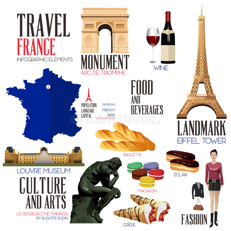 Éléments d'Infographic pour voyager aux Frances illustration libre de droits