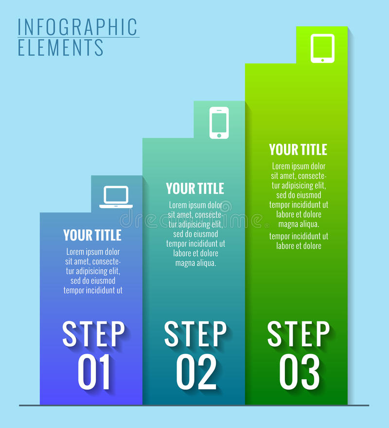 Éléments d'Infographic. Trois étapes au succès. illustration stock