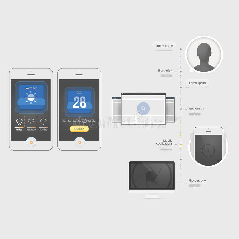 Éléments d'Infographics : Collection d'éléments plats colorés de navigation du kit UI avec des icônes pour le site Web et le mobil illustration stock