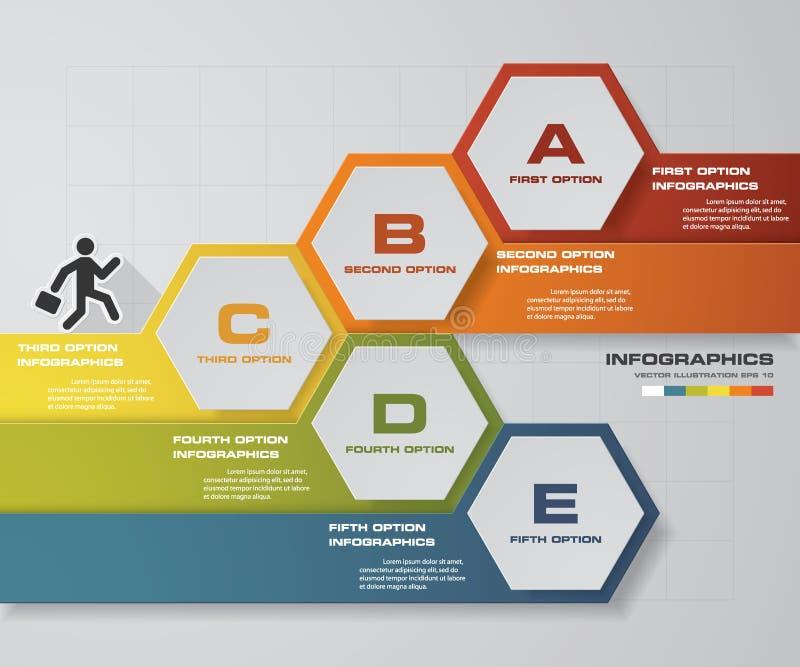 Éléments d'infographics d'étapes du résumé 5 Illustration de vecteur illustration stock
