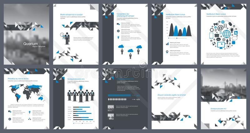 Éléments d'infographics pour le calibre de rapport et les calibres de présentations illustration de vecteur