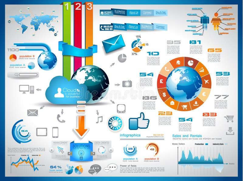 Éléments d'Infographics pour les graphiques de calcul de nuage illustration stock