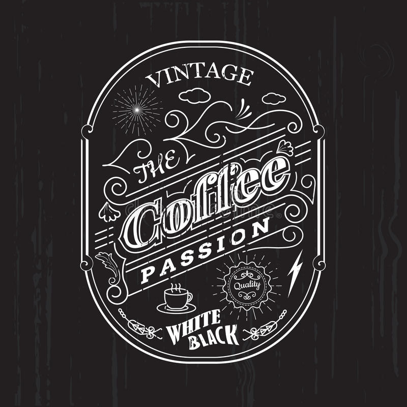 Éléments d'insigne de conception de label de café de frontière de cadre de vintage illustration libre de droits