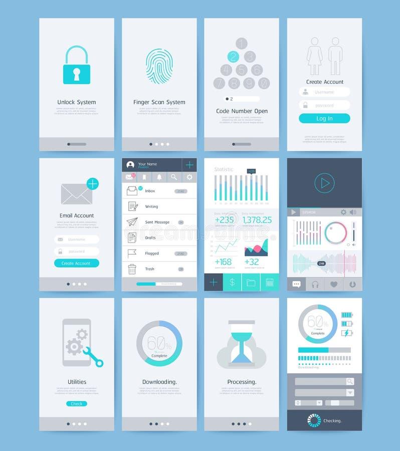 Éléments d'interface et de conception d'UI illustration stock