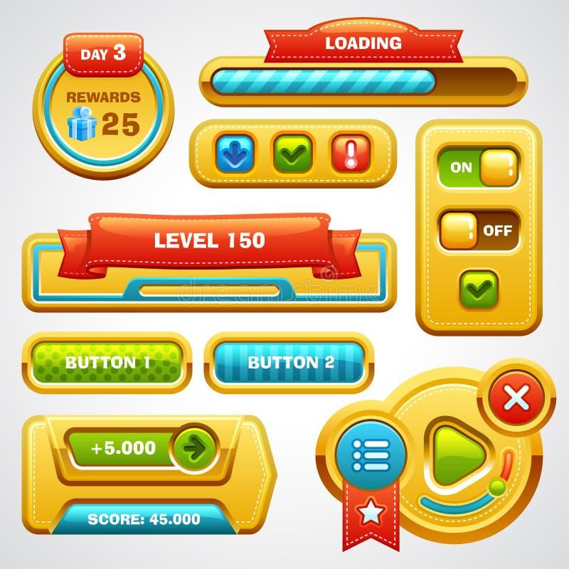 Éléments d'interface utilisateurs de jeu illustration de vecteur