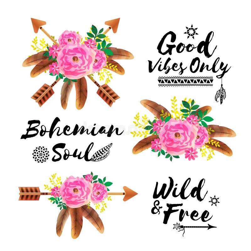 Éléments d'invitation de style de Boho avec des fleurs illustration de vecteur