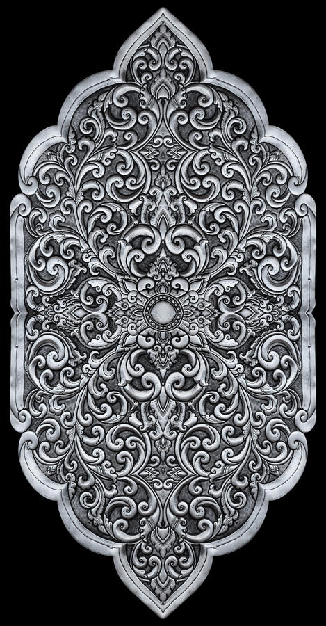 Éléments d'ornement, conceptions florales argentées de vintage photo libre de droits