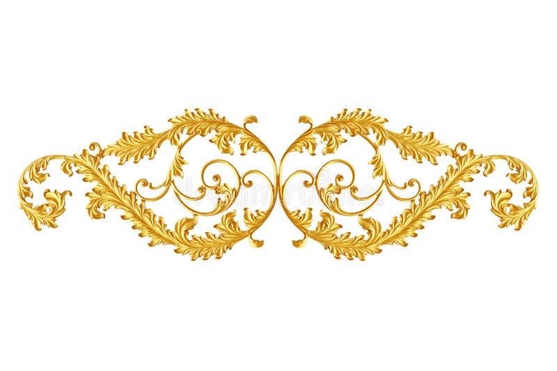 Éléments d'ornement, conceptions florales d'or de vintage photographie stock libre de droits