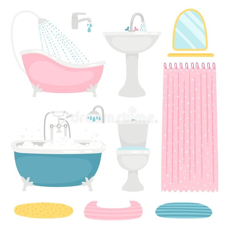Éléments de base de conception de salle de bains illustration de vecteur