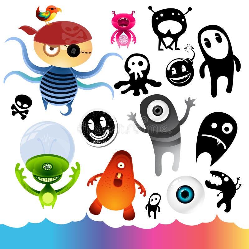 Éléments de caractère de monstre illustration stock