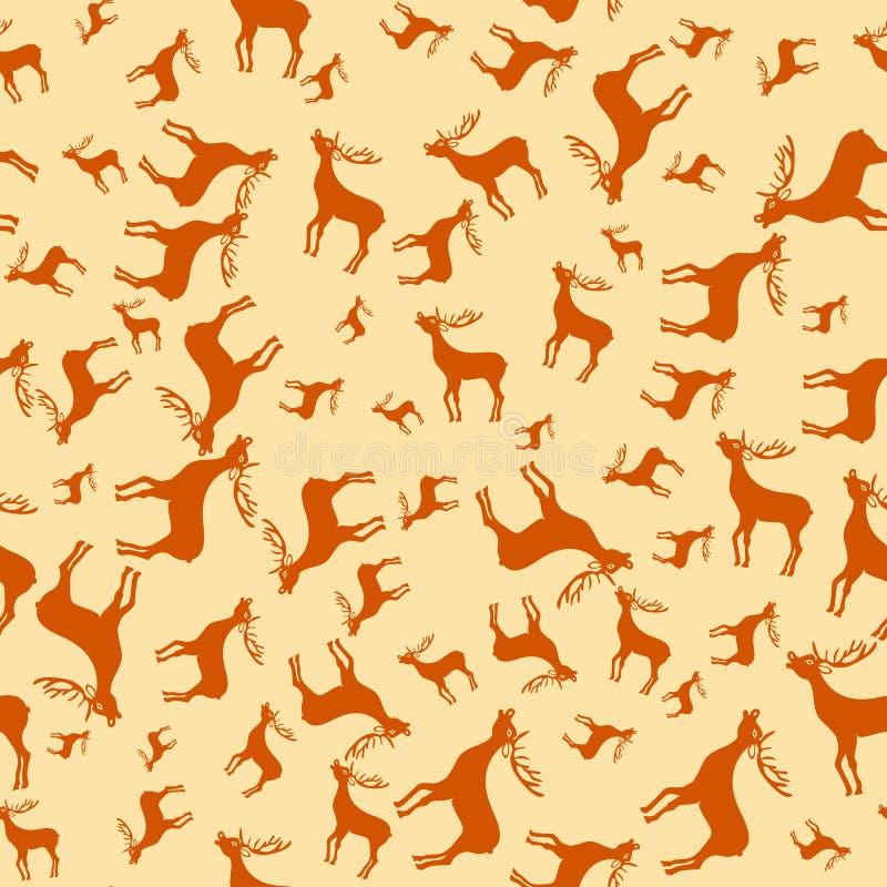 Éléments de cerfs communs de Noël de vintage Fond sans couture de modèle de renne Papier de cadeau de félicitation d'époque de No illustration stock