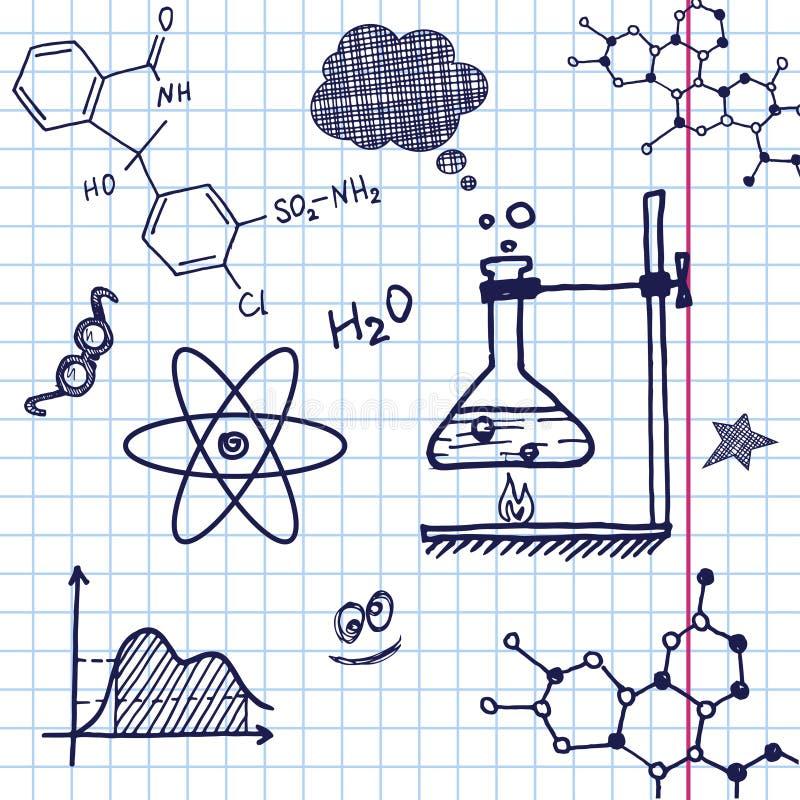 Éléments de chimie d'aspiration de main de vecteur illustration de vecteur