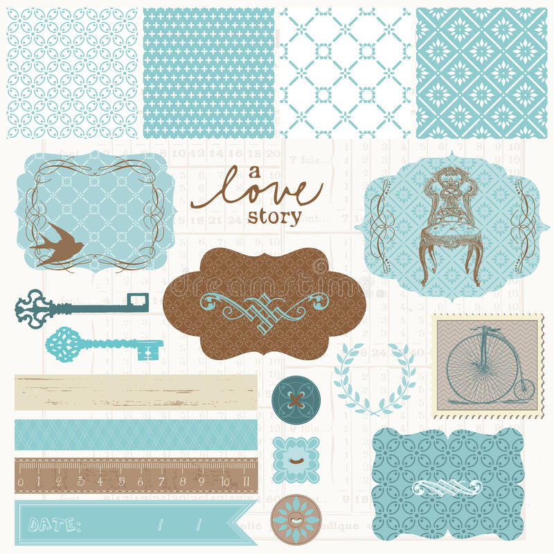 Éléments de conception d'album - positionnement d'amour de cru illustration stock