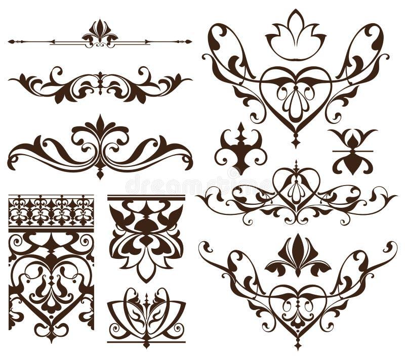 Éléments de conception d'art déco des coins d'ornements et de frontières de vintage des éléments simples de flourishes d'Art nouv illustration libre de droits