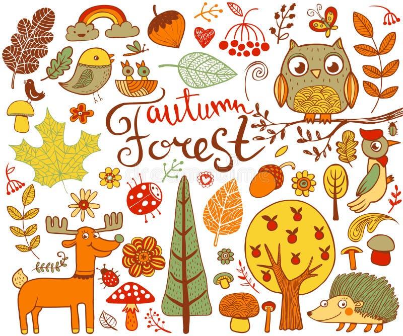 Éléments de conception d'Autumn Forest dans le style de griffonnage illustration de vecteur