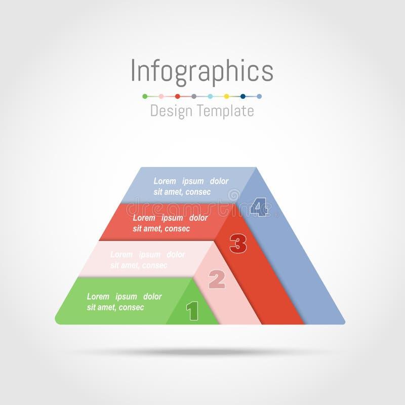 Éléments de conception d'Infographic avec la forme de triangle pour vos données commerciales avec 4 options, parts, étapes, chron illustration de vecteur