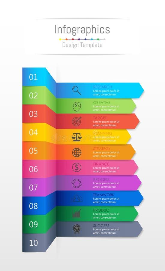 Éléments de conception d'Infographic pour vos données commerciales avec 10 options illustration stock