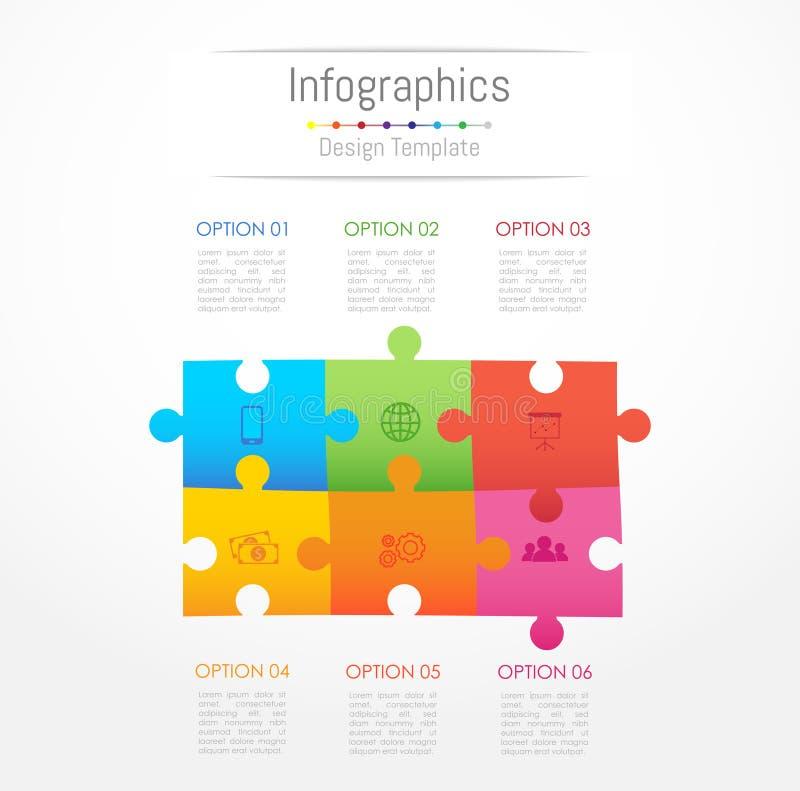 Éléments de conception d'Infographic pour vos données commerciales avec 6 options illustration libre de droits