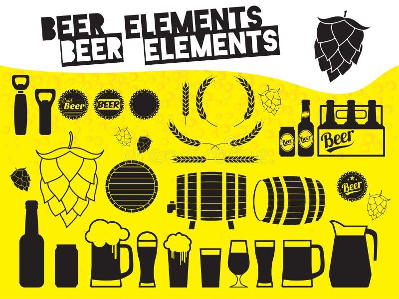 Éléments de conception de bière illustration libre de droits