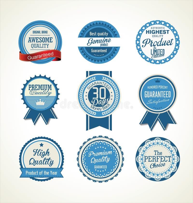 Éléments de conception de collection de labels de vente de vintage, qualité de la meilleure qualité illustration libre de droits