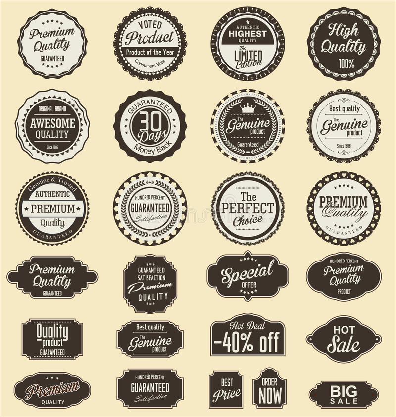 Éléments de conception de collection de labels de vente de vintage, qualité de la meilleure qualité illustration libre de droits