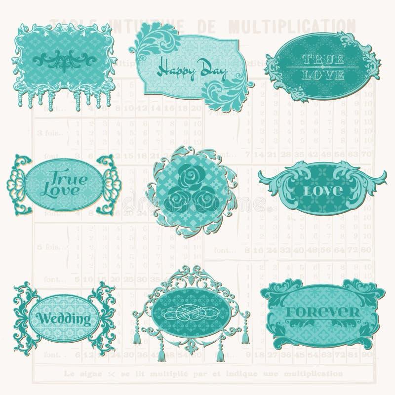 Éléments de conception de cru pour l'album - vieilles étiquettes et trames illustration libre de droits