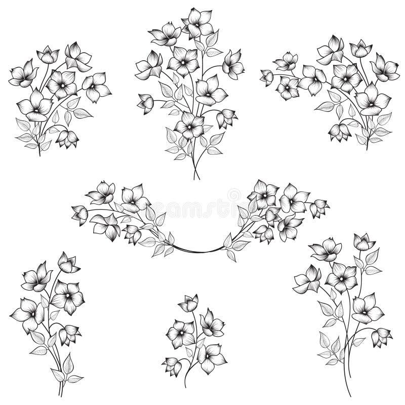 Éléments de conception de fleurs Ensemble de bouquet de fleur illustration de vecteur