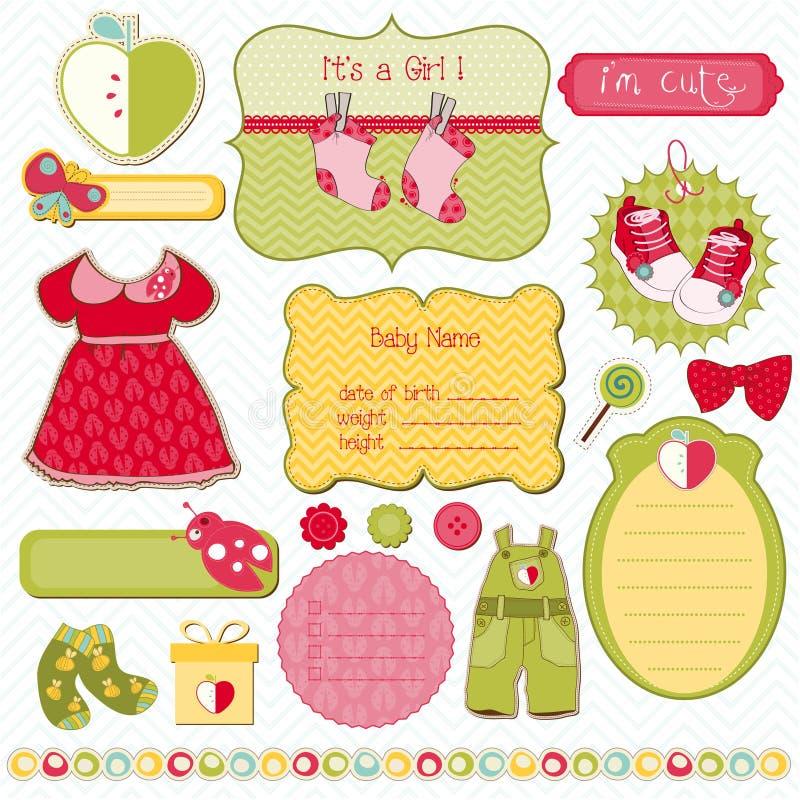 Éléments de conception de Girly pour l'album illustration stock