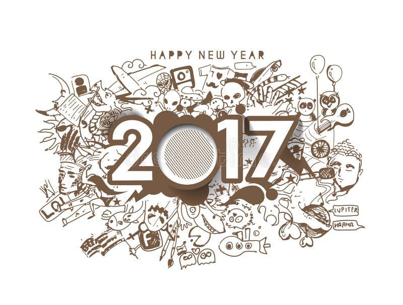 Éléments de conception de griffonnage de la bonne année 2017 pour des cartes de vacances illustration stock