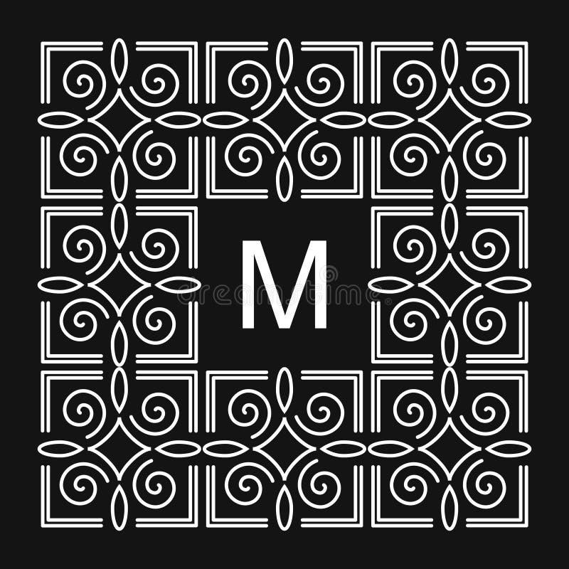 Éléments de conception de monogramme, calibre gracieux Élégant calligraphique conception de logo de schéma Signe M d'emblème de l illustration stock
