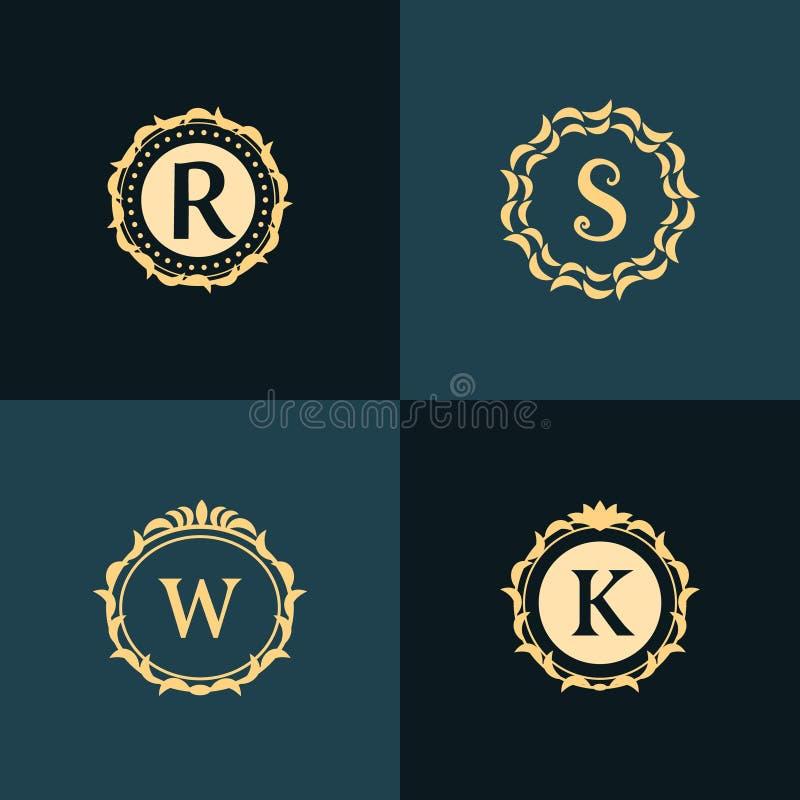 Éléments de conception de monogramme, calibre gracieux Élégant conception de logo de schéma illustration libre de droits