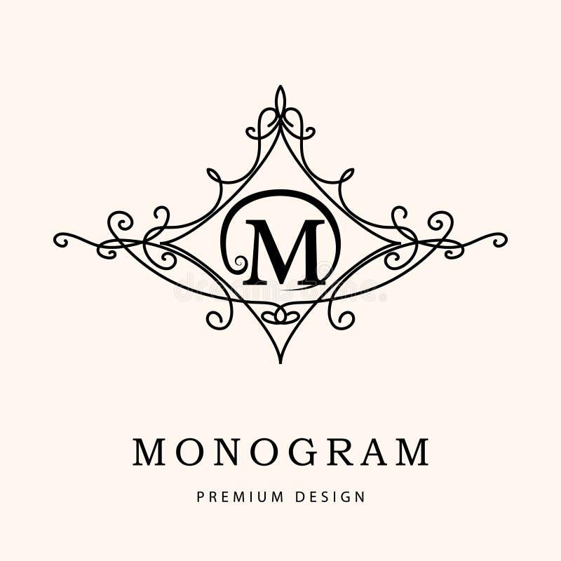 Éléments de conception de monogramme, calibre gracieux Élégant conception de logo de schéma Lettre M emblème Illustration de vect illustration libre de droits