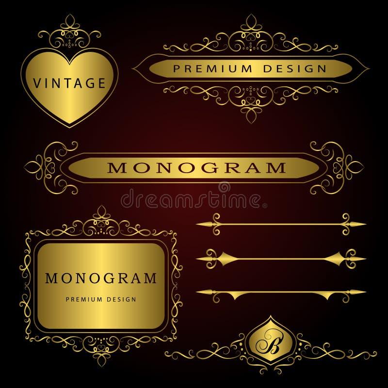 Éléments de conception de monogramme et décoration de page - ensemble de vecteur, calibre gracieux Élégant calligraphique concept illustration de vecteur