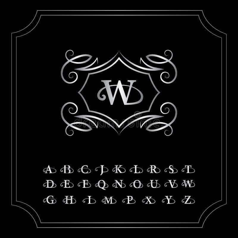Éléments de conception de monogramme, lettres anglaises Élégant conception de logo de schéma Emblème argenté W Signe d'affaires,  illustration libre de droits
