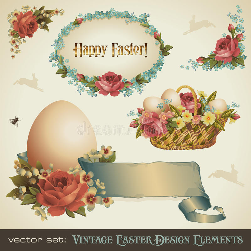 Éléments de conception de Pâques de cru illustration libre de droits