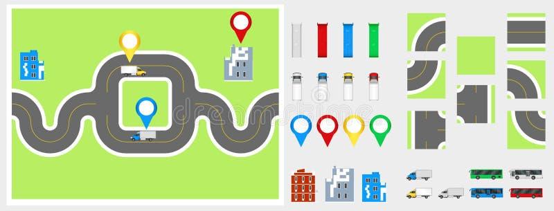 Éléments de conception de paysage urbain avec la route, transport, bâtiments, goupilles de navigation Illustration ENV 10 de vect photos libres de droits