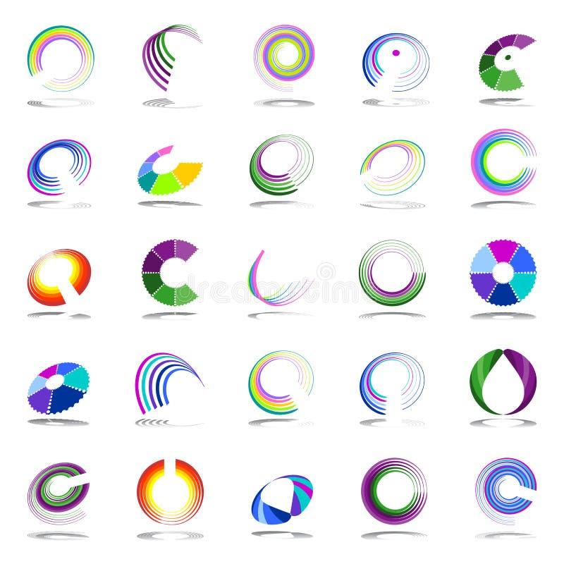 Éléments de conception de rotation et de spirale illustration de vecteur