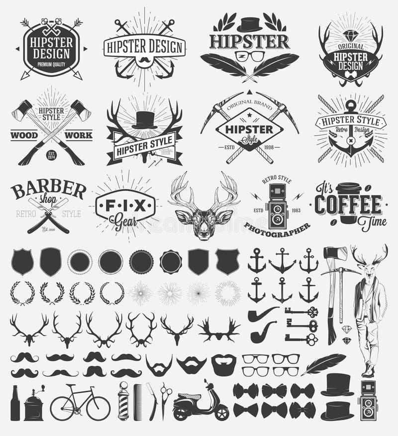 Éléments de conception de style de hippie illustration de vecteur
